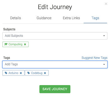 Journey Editor - Tagging